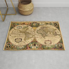 1663 Orbis Geographica Old World Map by Henri Hondius Rug