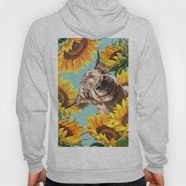Highland Cow with Sunflowers in Blue Hoody