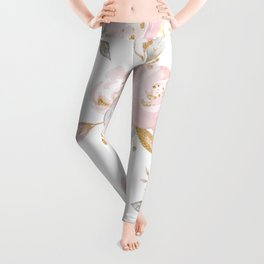 Roses Gold Glitter Pink by Nature Magick Leggings