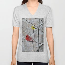 Goldfinch and Cardinal Unisex V-Neck