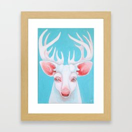 Portrait of a White Stag Framed Art Print