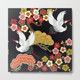 Japanese storks in vintage style on Dark background. Oriental traditional painting. White stork. Japanese crane illustration. Japanese pattern Metal Print