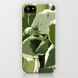 Hostas, altered reality graphic design, shades of green iPhone Case