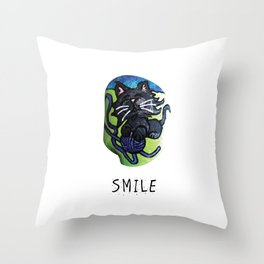 Smile Rock Kitty with ball of Yarn on Rock by annmariescreations Throw Pillow