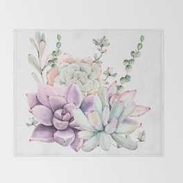 Succulents Mint and Purple by Nature Magick Throw Blanket