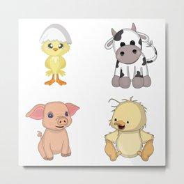 Cute Farm Animals Metal Print
