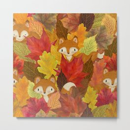 Foxes Hiding in the Fall Leaves - Autumn Fox Metal Print