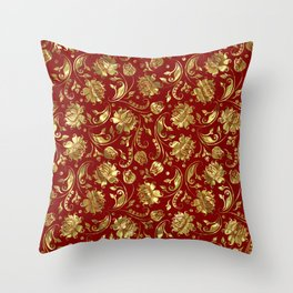 Shiny gold and burgundy red floral damasks pattern Throw Pillow