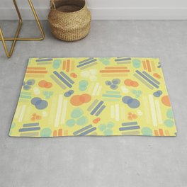 Abstract geometric shapes. Stripes rectangles dots bubbles circles orange coral white blue on a lime yellow background. Layered geometric shapes. Rug
