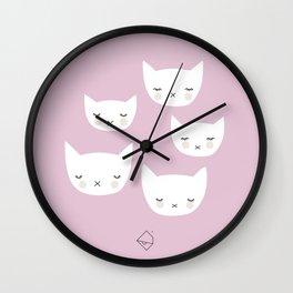Little sleepy cat kawaii baby kitten nursery print pink girls Wall Clock