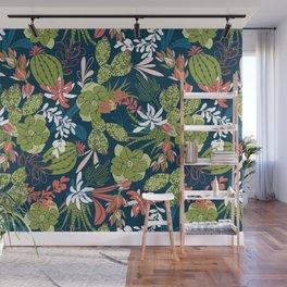 Succulent Garden Navy Wall Mural