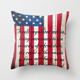 2nd Amendment on American Flag - Vertical Print Throw Pillow