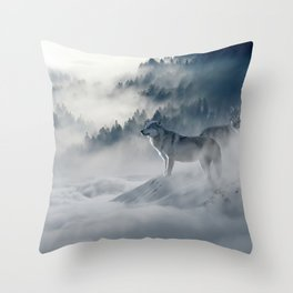 Wolves Among the Snowcapped Mountain Throw Pillow