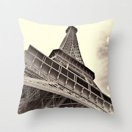 The famous Eiffel Tower in Paris, France in sepia. Vintage photography Throw Pillow