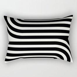 Minimal Line Curvature - Black and White III Rectangular Pillow