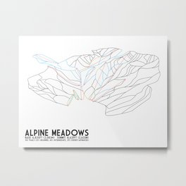 Alpine Meadows, CA - Minimalist Trail Art Metal Print
