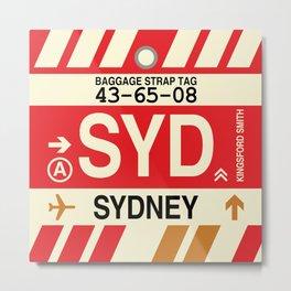 SYD Sydney • Airport Code and Vintage Baggage Tag Design Metal Print