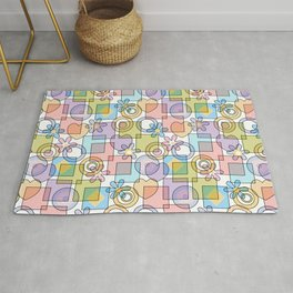 Geometrical abstract hearts squares flowers circles shapes pattern pastel colors Rug