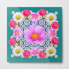 Teal Color Art Fuchsia Gerbera Daisy Flowers Pink Roses Patterns Metal Print