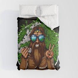 Bigfoot Hippie Smoking Weed Comforters