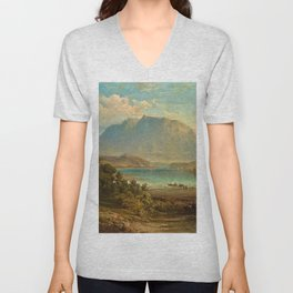 A view of Konigsee near Munich, Germany by Frederick Lee Bridell Unisex V-Neck