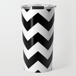Heart & Chevron - Black/Blue Travel Mug
