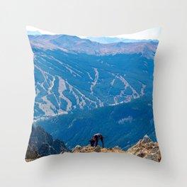 Dog Gone Climbing 2 // High above Copper Mountain Ski Resort in Colorado Landscape Photograph Throw Pillow