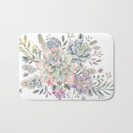 succulent watercolor 8 Bath Mat