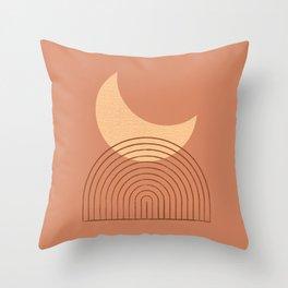 Moon Mountain Terra Orange - Mid century modern Throw Pillow
