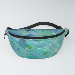 SEA SCALES - Beautiful Ocean Theme Peacock Feathers Mermaid Fins Waves Blue Teal Color Abstract Fanny Pack