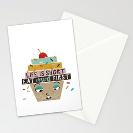 Cupcake eating ice cream Stationery Cards
