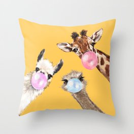 Bubble Gum Gang in Yellow Throw Pillow