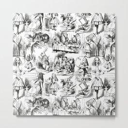 Alice in Wonderland   Toile de Jouy Pattern   Black and White   Vintage Pattern   Victorian Gothic   Metal Print
