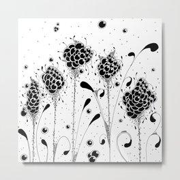 Bubbles Garden Ink Art illustration Metal Print