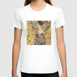 Gustav Klimt Lady With Fan  Art Nouveau Painting T-shirt