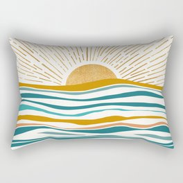The Sun and The Sea - Gold and Teal Rectangular Pillow