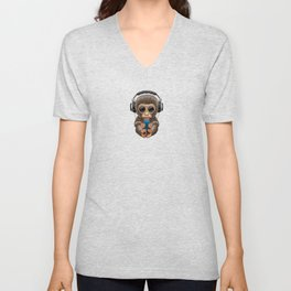 Cute Baby Monkey With Cell Phone Wearing Headphones Blue Unisex V-Neck