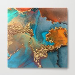 Abstract Blue And Gold Autumn Marble Metal Print