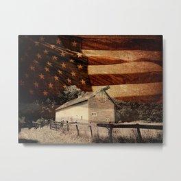 Rustic Barn Americana Heartland Farmhouse Country Flag Decor Art A464 Metal Print