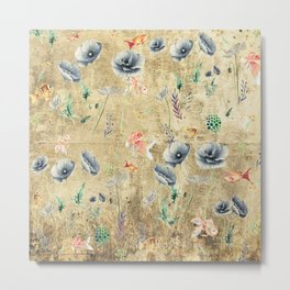 Fishes & Garden #Gold-plated Metal Print