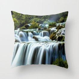 Krka Waterfall Landscape No. 2, Croatia Throw Pillow