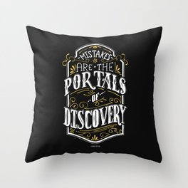 Lab No. 4 - Mistakes are the portals of discovery - James Joyce Corporate Startup Quotes Poster Throw Pillow