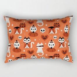 Halloween Kitties (Orange) Rectangular Pillow