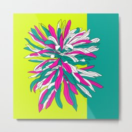 Colorful bold flourescent vibrant floral design Metal Print