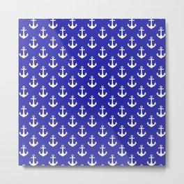 Anchors (White & Navy Blue Pattern) Metal Print