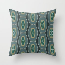 Midcentury Funky Chain Pattern Seaweed Throw Pillow