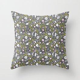 Skeletons in Spring - abbey grey - white  Throw Pillow