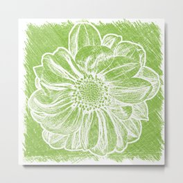 White Flower On Lime Green Crayon Metal Print
