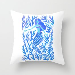 Kelp Forest Mermaid – Blue Palette Throw Pillow