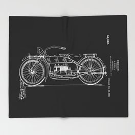 1919 Motorcycle Patent Black White Throw Blanket
